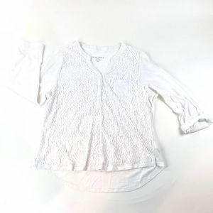 Nine West Women's White Lacey Top Size XXL